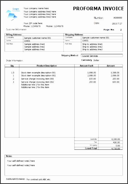 invoice examples word