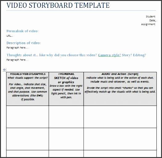 Video Storyboard Template Cvfreeo
