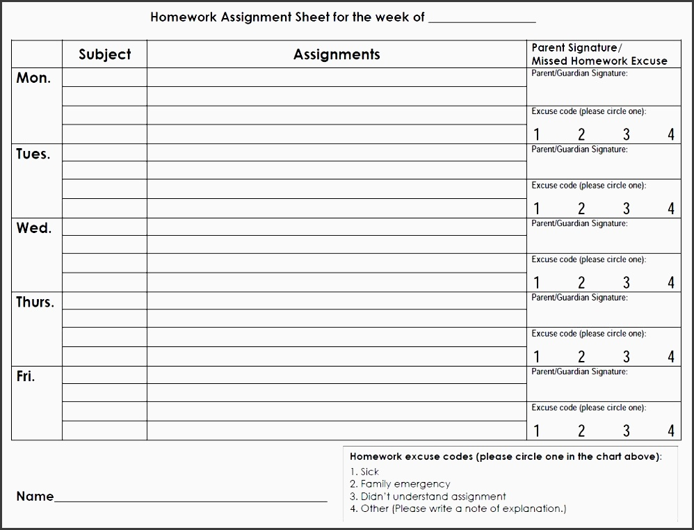 Awesome Student Assignment Planner Template Inspiration