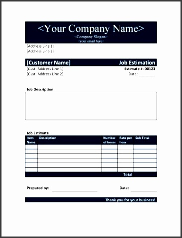 work estimate template word - Intoanysearch