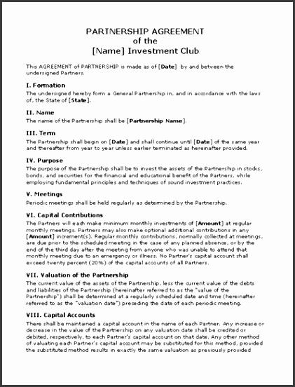 7 Business Partnership Agreement Template Doc - SampleTemplatess - investment agreement doc