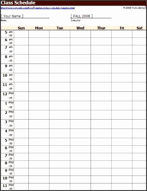 semester class schedule template thevillas2017 semester calendar