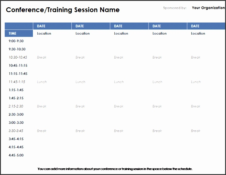 9 Conference Room Schedule Template - SampleTemplatess - conference schedule template