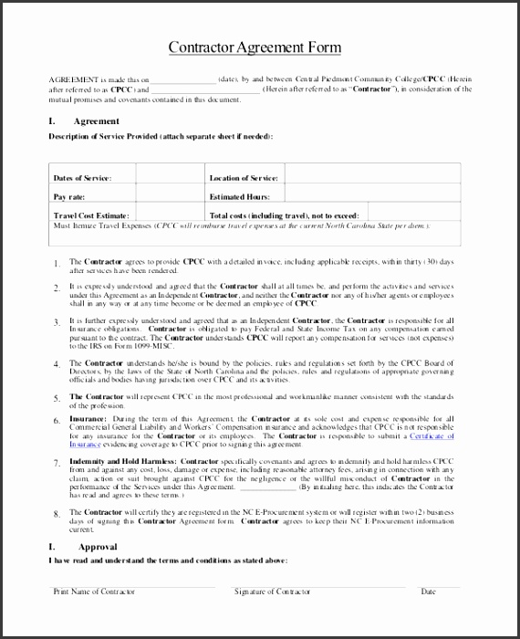 general contractor agreement form - Onwebioinnovate - sample contractor agreements