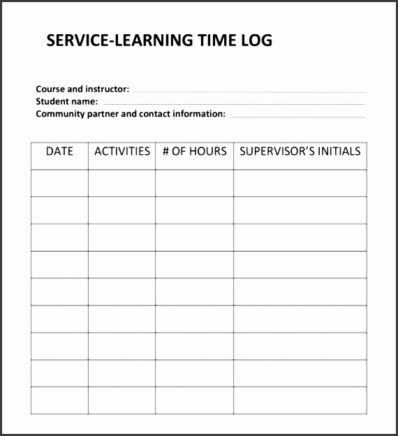 11 Service Log Templates - SampleTemplatess - SampleTemplatess - time log template