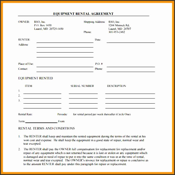 Simple Equipment Rental Agreement Sample Lease Or Rental Agreement