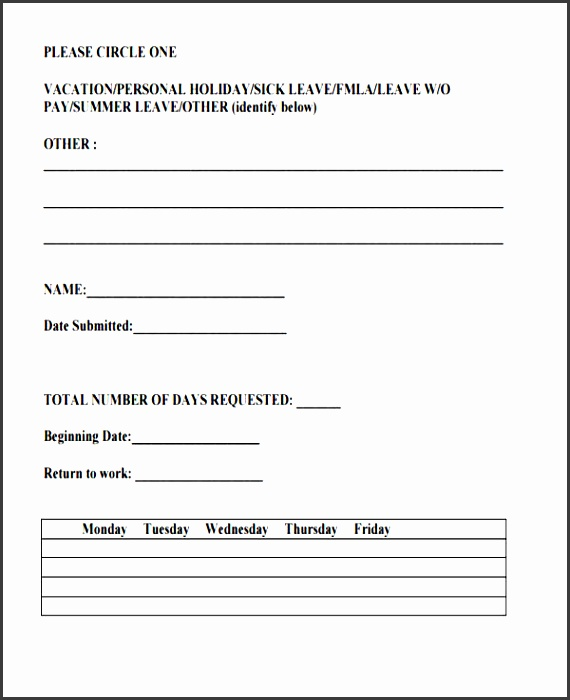 4 Time Off Request form Template - SampleTemplatess - SampleTemplatess
