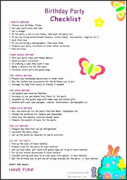 8 Birthday Party Checklist Template - SampleTemplatess