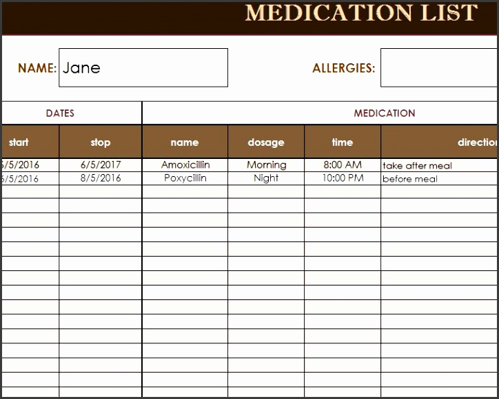 Medicine List Template Gallery - Template Design Ideas - allergy list template
