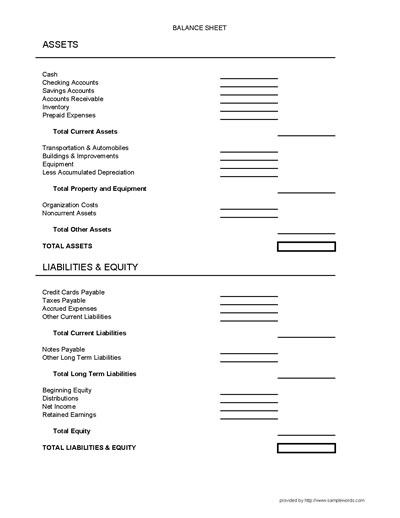 Balance Sheet Form - accounting balance sheet template