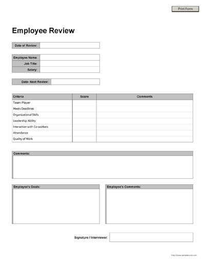 Free Printable Employee Review Form - employee review form