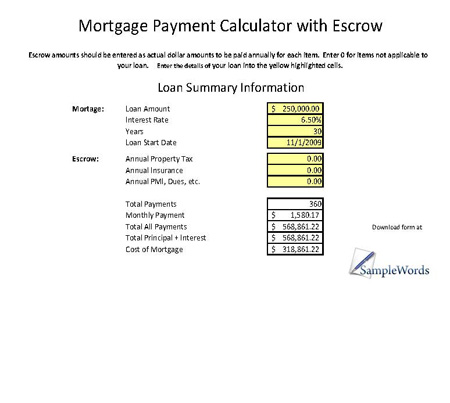 Mortgage Calculator With Escrow Mortgage Payment Calculator Template - mortgage payment calculator template