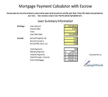 Mortgage Calculator with Escrow - mortgage calculator template