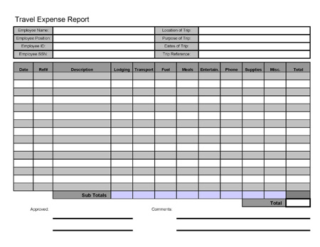 Free Printable Travel Expense Report - generic expense report