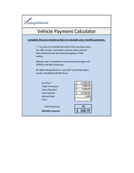 Vehicle Loan Calculator - Microsoft Excel