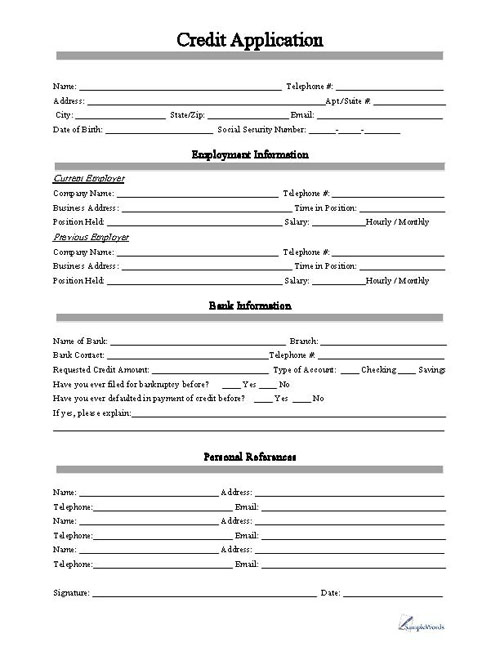 Credit Application Form - printable application