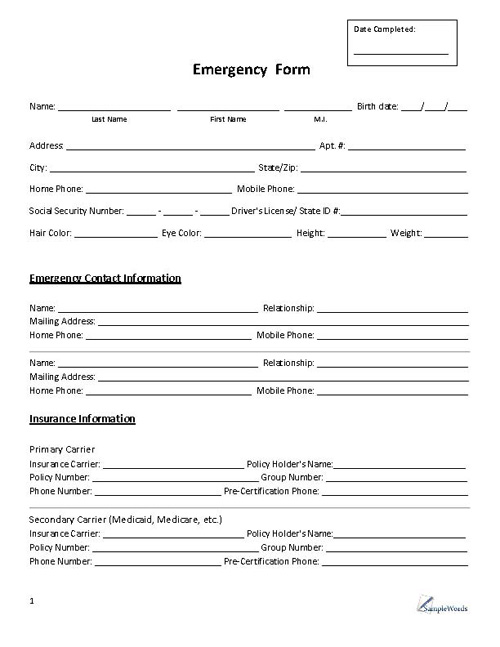 Emergency Form - Contact - contact information form