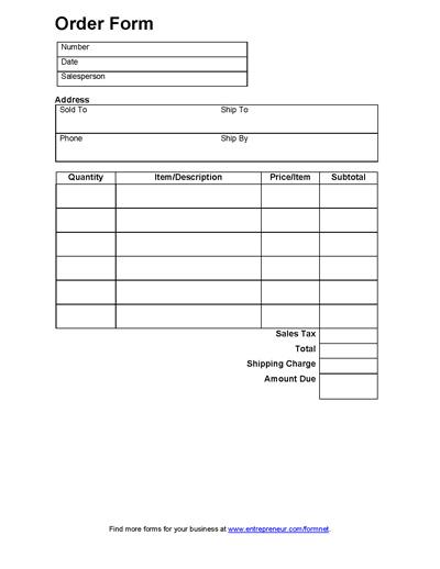 Sales Order Form - appraisal order form