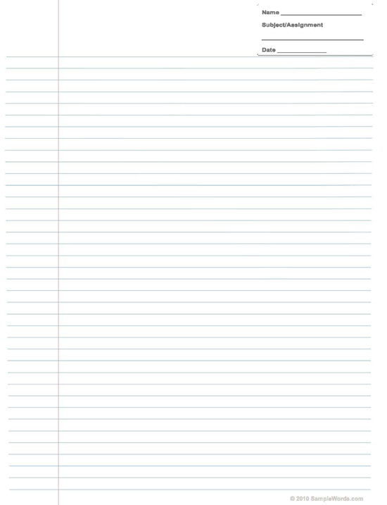 Printable Assignment Paper - printable wide ruled paper