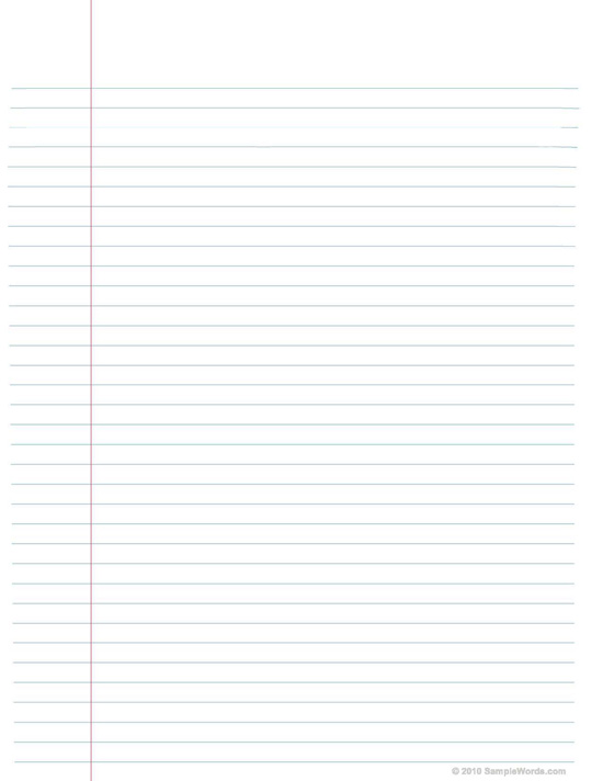 Free Printable Lined Notebook Paper