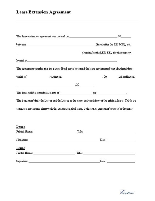 Lease Extension Form - apartment lease agreement free printable