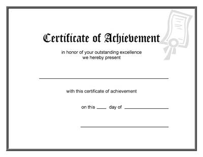 Blank Award Certificate Template - free printable certificates of achievement