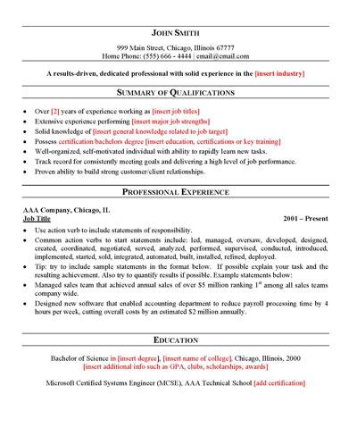 Free General Resume Template - job resume template