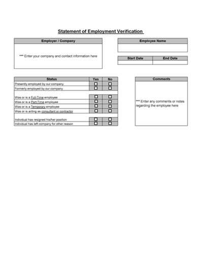 Employment Verification From - employment verification form