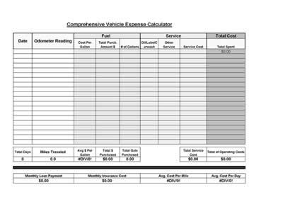 Free Printable Vehicle Expense Calculator - printable expense sheet
