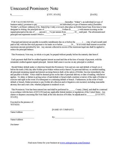 Promissory Note Template Form - Can Be Customized and Edited