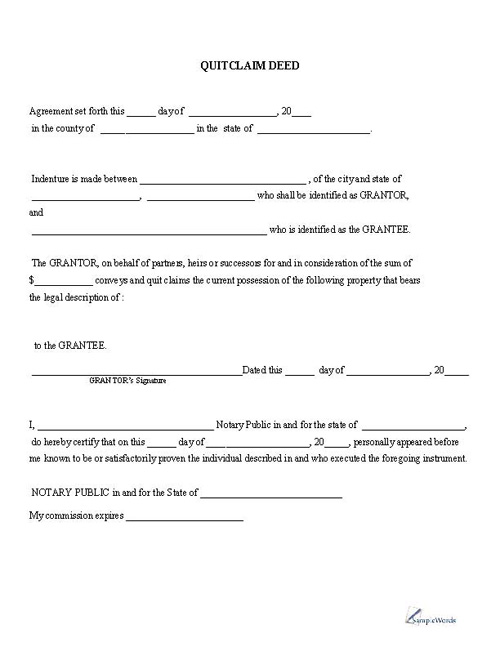 Quitclaim Deed - Printable PDF Download Template Sample - free affidavit forms online