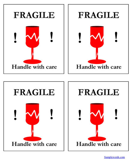 Fragile Handle With Care Shipping Label - Multiple Per Page