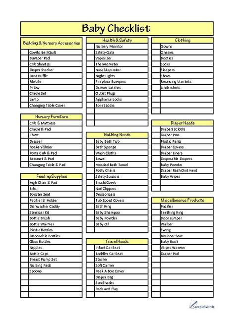 Baby Checklist Template Sample - sample baby shower checklist