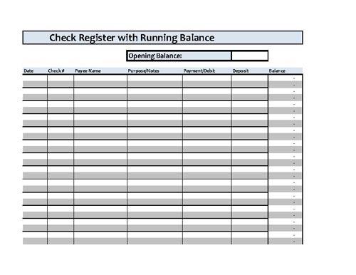 Checkbook Register Spreadsheet - Microsoft Excel