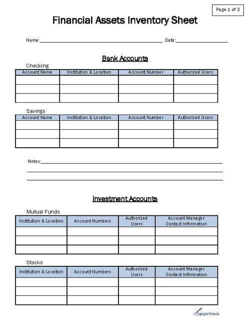 Asset Inventory Template Financial Asset Inventory Sheet - property inventory template