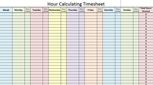 Hour Calculating Timesheet