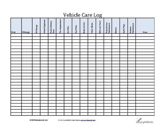 Vehicle Care Log - Printable PDF Form for Car Maintenance