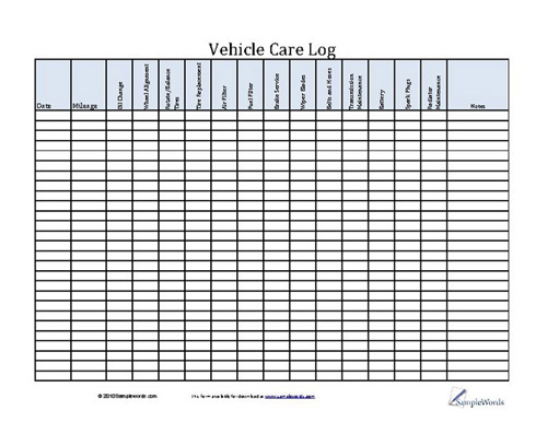 Vehicle Care Log - Printable PDF Form for Car Maintenance - vehicle service record template