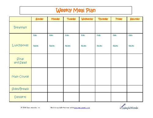 Chart - Printable Forms, Templates \ Samples - free menu planner template