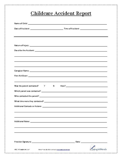 Child Accident Report Form - accident report template
