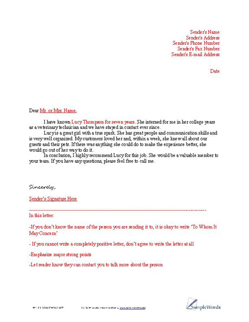 accounting recommendation letter sample