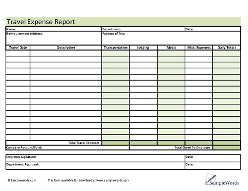 travel expense report - Onwebioinnovate - sample travel expense report