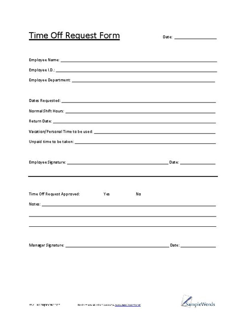Time Off Request Form - request for time off form