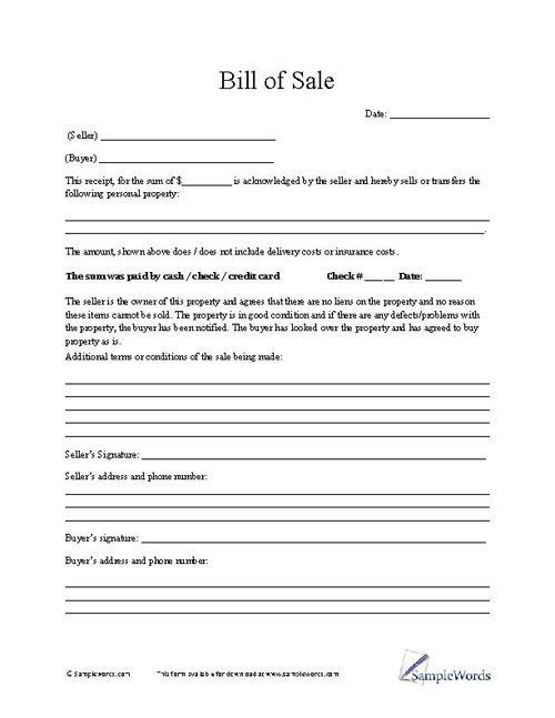 Bill of Sale Form - sample bill of sale