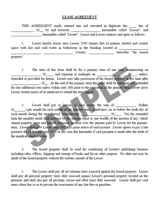 Commercial Lease - commercial lease form