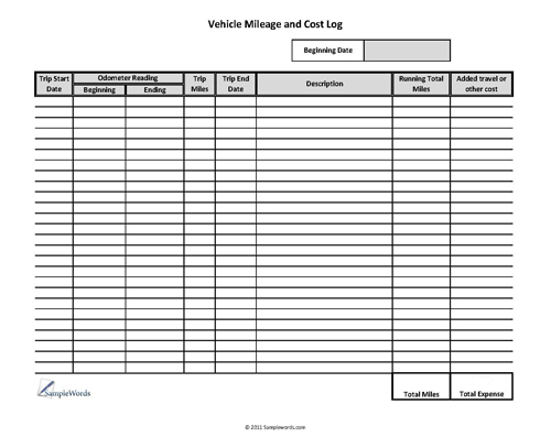 Vehicle Mileage Log - Expense Form - Free PDF Download