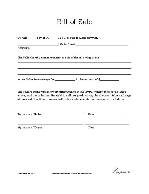 Basic Bill of Sale Form - Printable Blank Form Template - Bill Of Sale Agreement