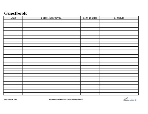 Basic Business Guestbook - guest book template