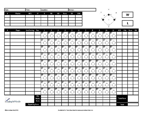 Baseball Scoresheet - Free Download