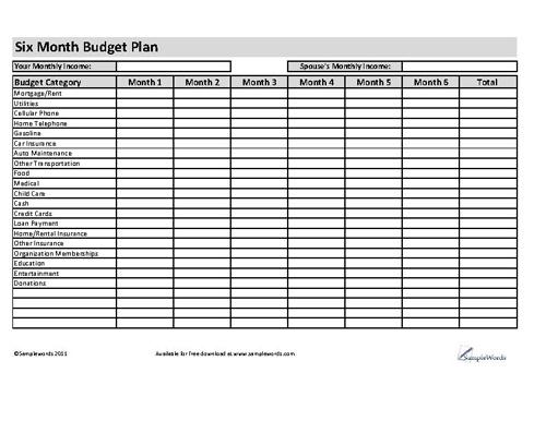 Budget Plan - Six Months